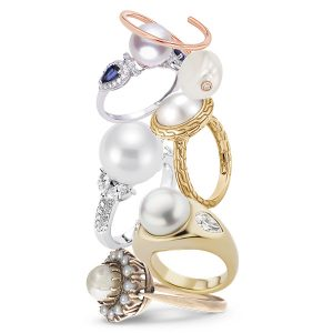 stack of pearl engagement rings