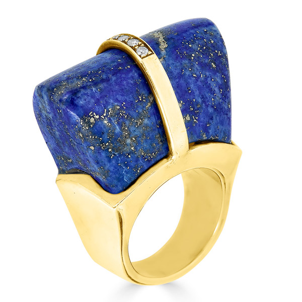 Argelia Hadrovic Nefertiti Crown lapis ring