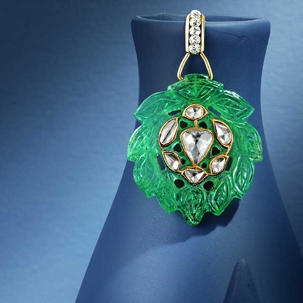Carved emerald pendant Bonhams New York Jewels sale