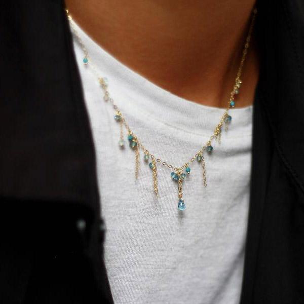 Sweet Pea Pogo Punk necklace modeled