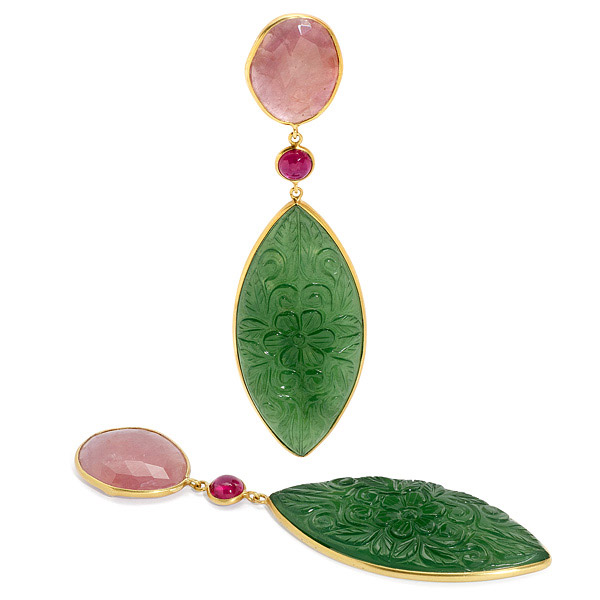 Bahina sapphire and ruby earrings