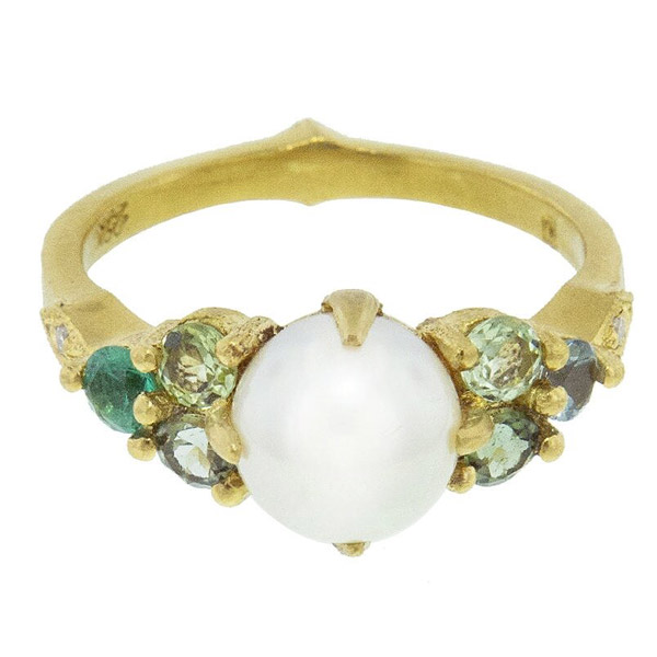 Cathy Waterman pearl and tourmaline ring