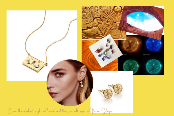 Elizabeth Moore mood board and jewelry