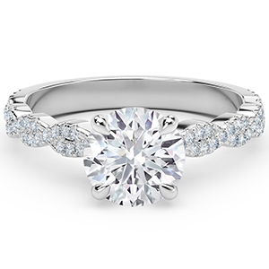 Forevermark Round Twisted Diamond Band Engagement Ring in White Gold