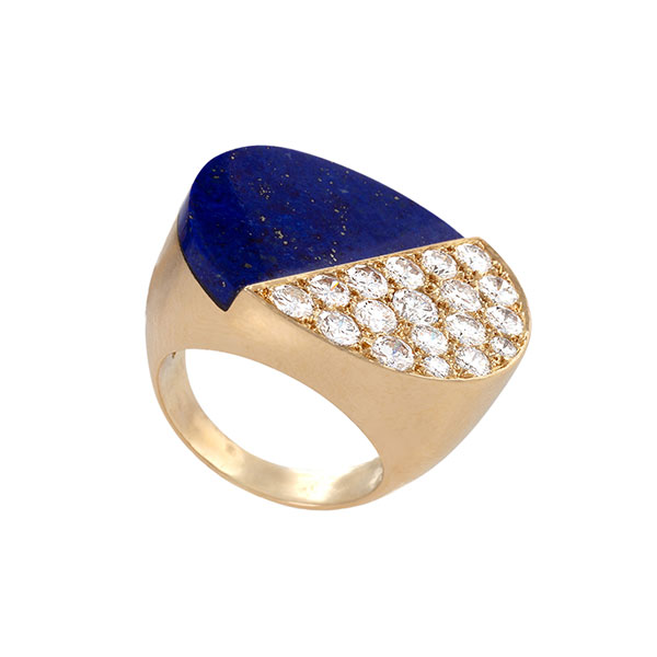 Macklowe Cartier Lapis and diamond ring