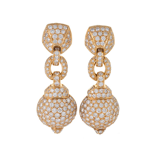 Macklowe Cartier gold and diamond pendant earrings