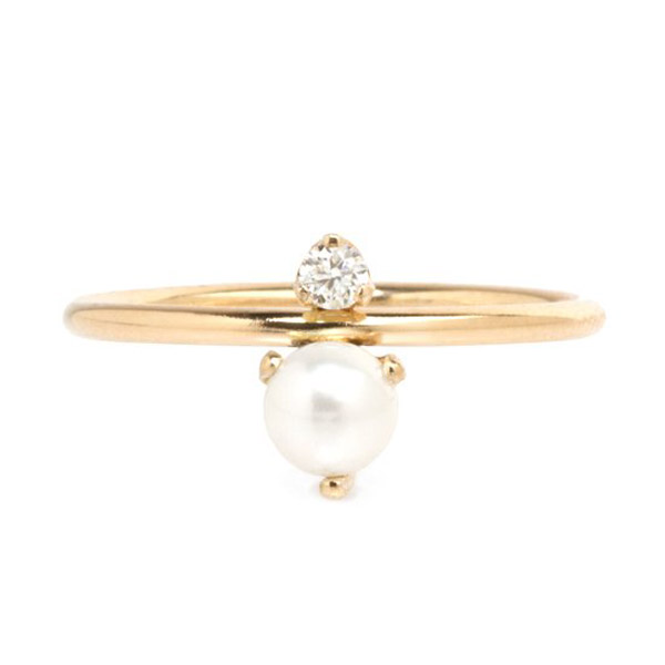 Zoe Chicco pearl stacked ring