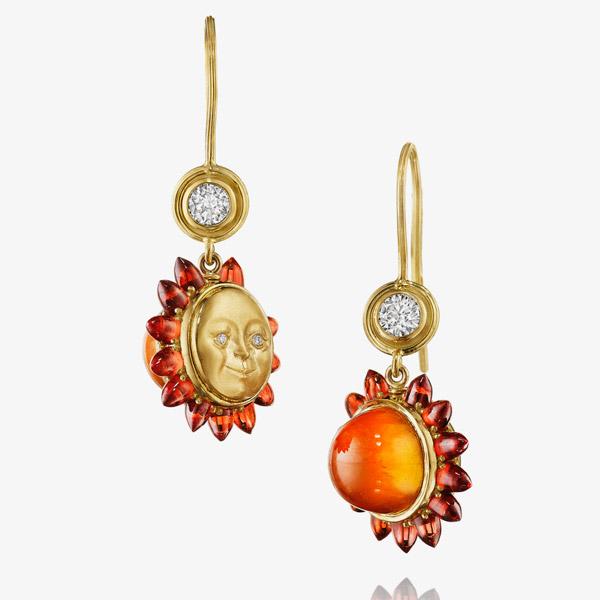 Anthony Lent garnet sunset earrings