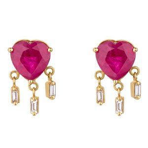 Dima Jewellery ruby heart earrings