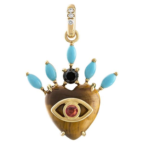 Eden Presley Queen of Hearts tiger eye pendant
