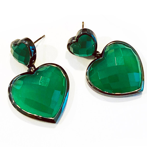Nakard green onyx heart earrings