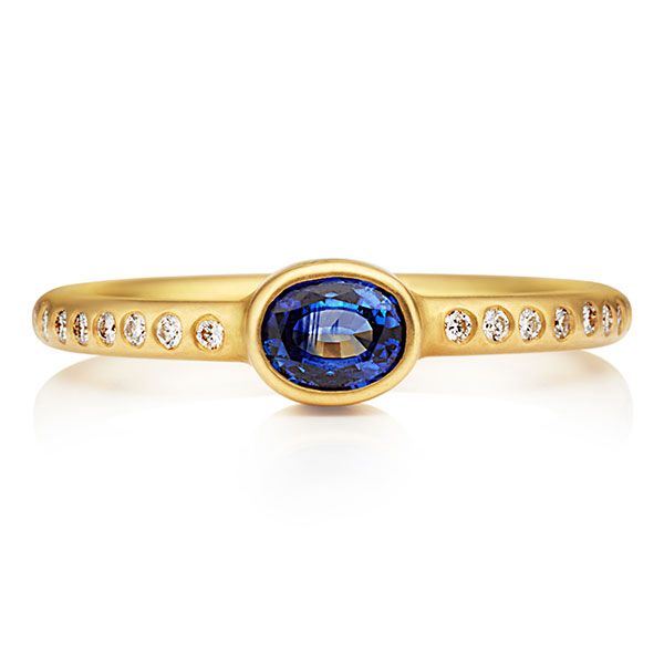 Reinstein Ross Hoopstock ring with blue sapphire and diamonds