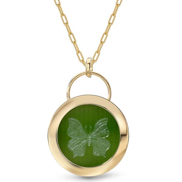 Retrouvai jade butterfly pendant