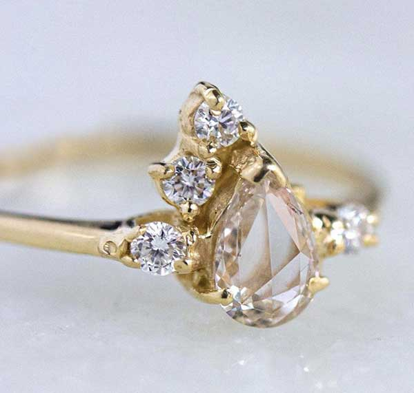 Rose Cut Champagne Diamond ring by Ruta Reifen