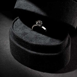 Aether Diamonds jewelry case with lab-grown diamond ring