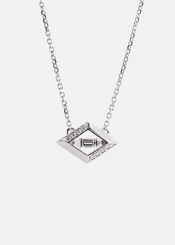 Aether geometric halo pendant