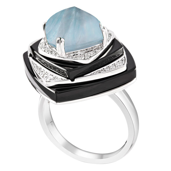 Ananya aquamarine Nazar ring