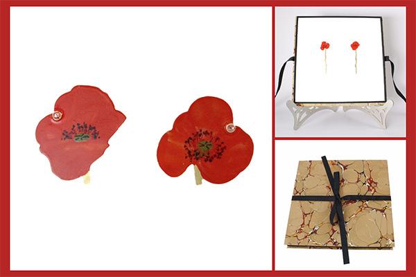 Christopher Thompson royds red flower earrings