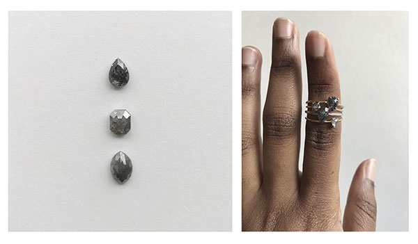 Custom salt and pepper diamond options by A.M. Thorne
