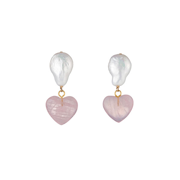 Donni gemdrop pearl and heart stone earrings