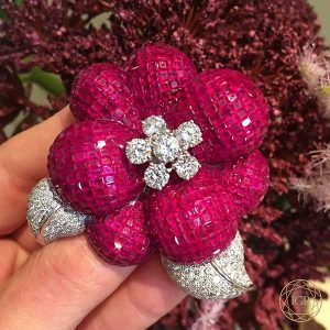 IGR Ruby and Diamond brooch