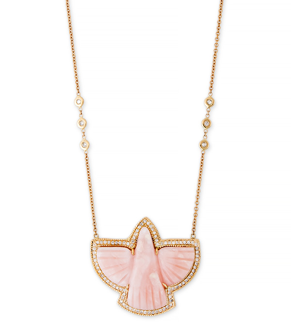 Jacquie Aiche Pink Opal Thunderbird Necklace