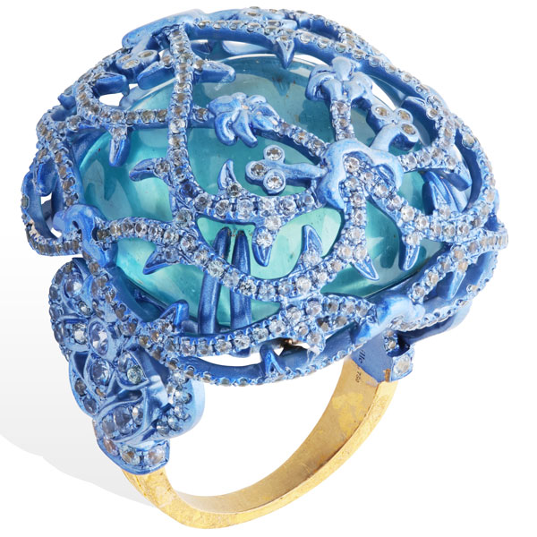 Lydia Courteille Marie Antoinette aquamarine ring