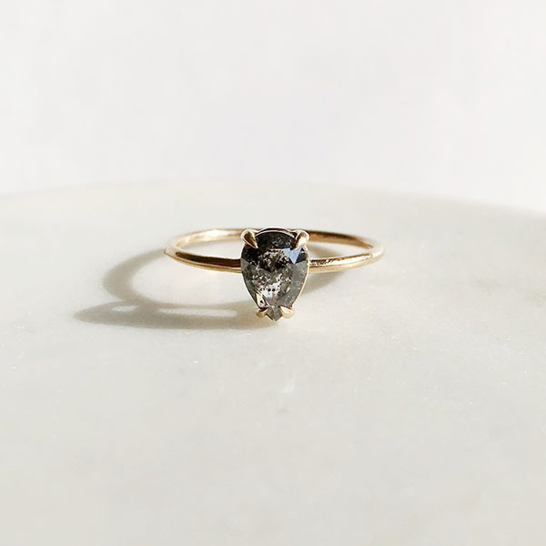 Salt and pepper diamond engagement ring by A.M. Thorne
