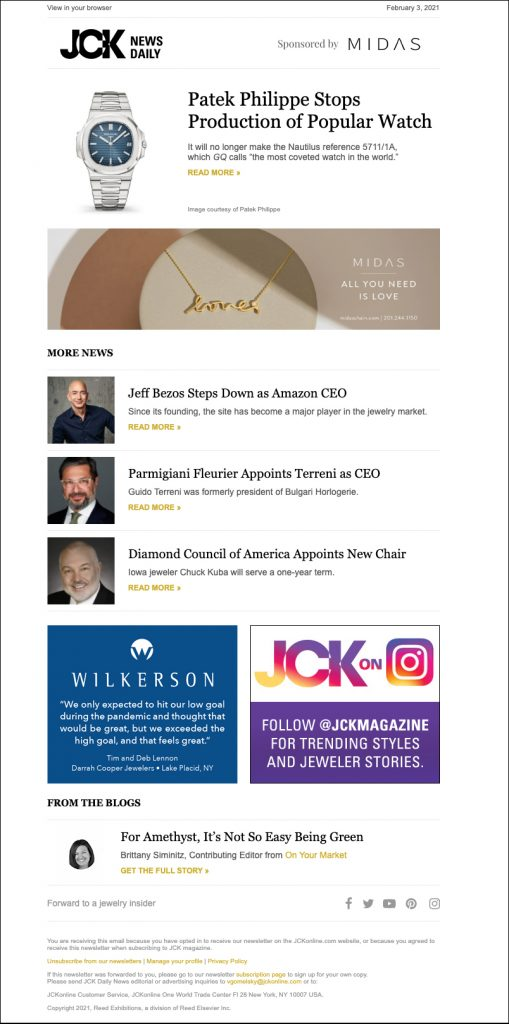 JCK News Daily Email Newsletter Screenshot