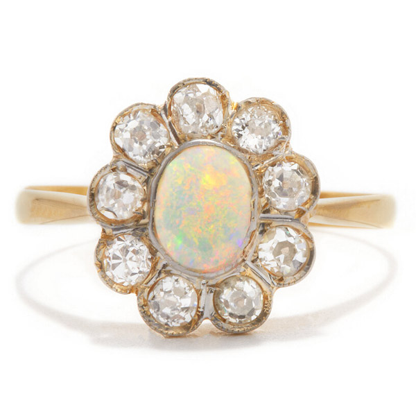 Ashley Zhang opal flower cluster ring