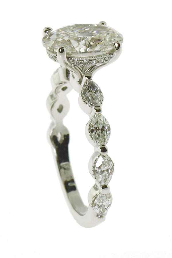 Jeffrey Debs custom platinum lab-grown diamond engagement ring