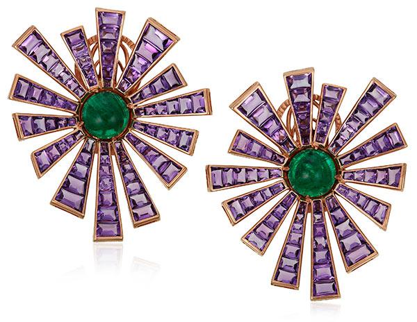 Michele Della Valle amethyst baguette earrings