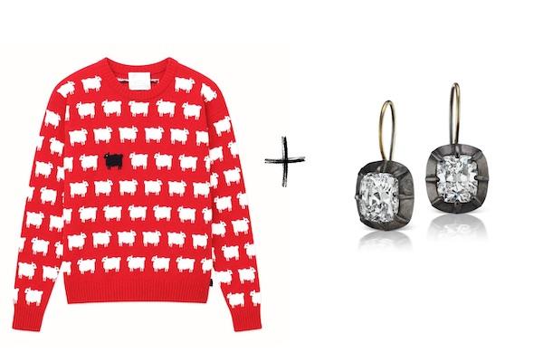 Rowing blazers sheep sweater Lauren Addisondiamond earrings