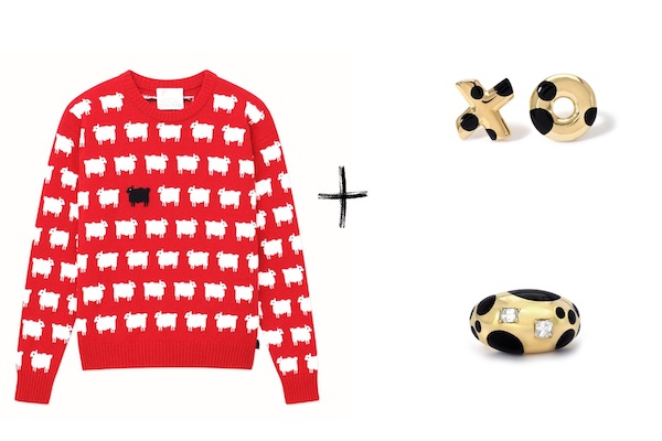 Rowing blazers sheep sweater Retrouvai earrings and ring