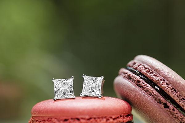 WD Diamonds lab-grown princess-cut earrings