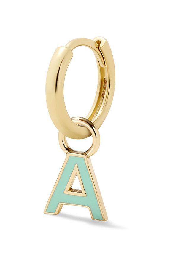 Alison Lou letter enamel huggie earring