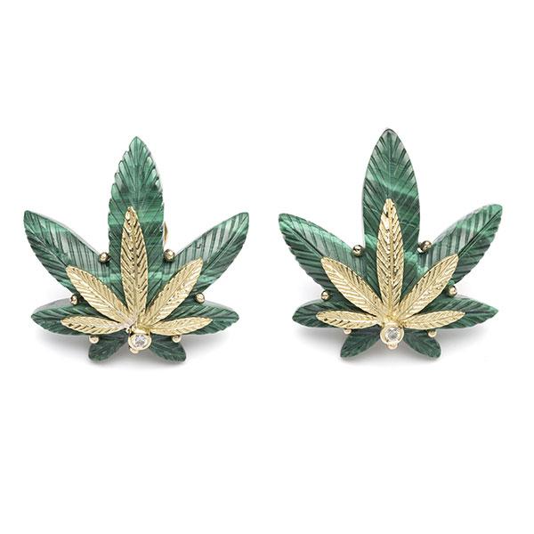 Brent Neale cannabis malachite gold earrings