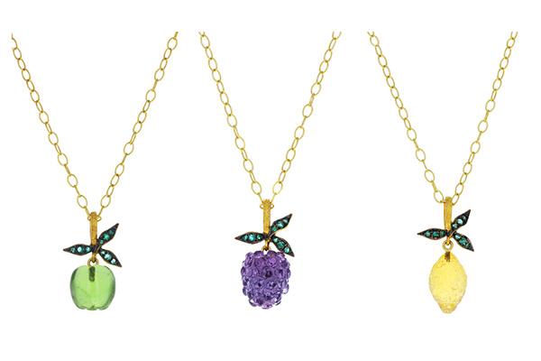 Cathy Waterman carved fruit pendants