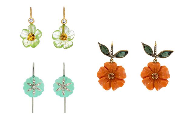 Cathy waterman carved gem earrings