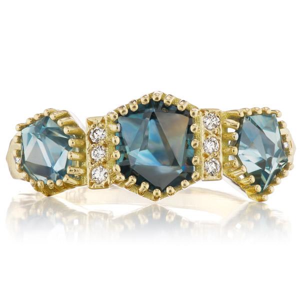 Dana Bronfman three stone geocut sapphire ring