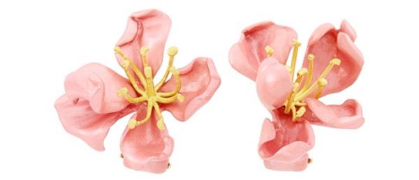 JAR pink enamel flower earclips