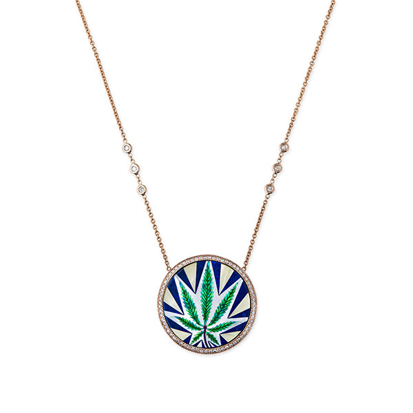 Jacquie Aiche gold opal inlay Sweet Leaf necklace