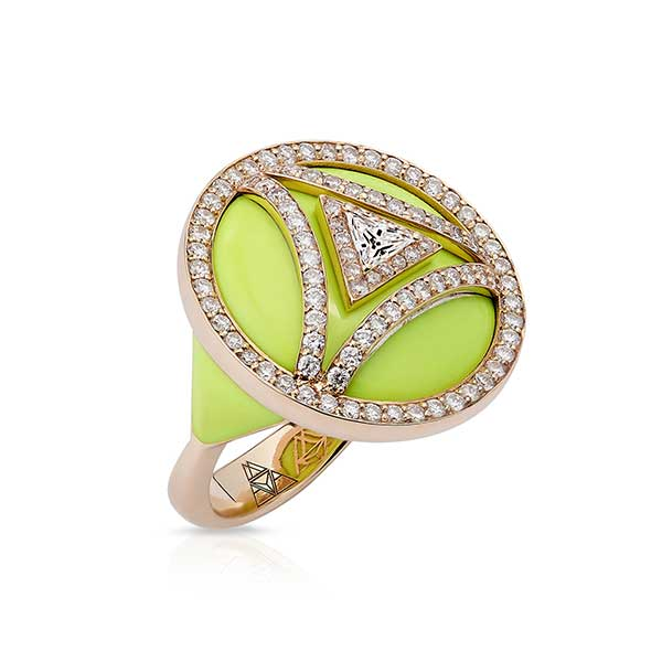 Maya Gemstones Sonya ring in gold and enamel