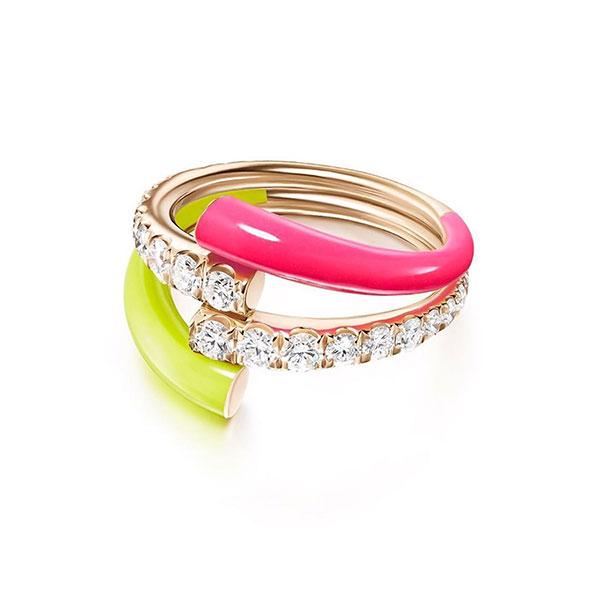 Melissa Kaye neon enamel gold ring