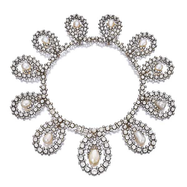 Sothebys royal tiara in-natural pearl and diamonds