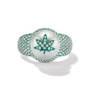 Wilfredo Rosado cannabis white gold pearl ring