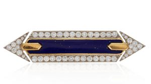 David Webb diamond and lapis lazuli brooc