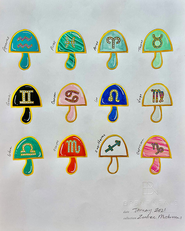 Brent Neale mushroom zodiac sketches