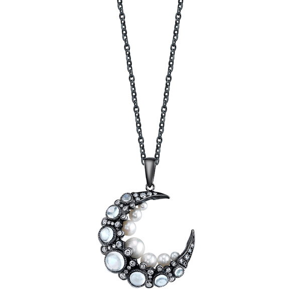Colette pearl and moonstone pendant