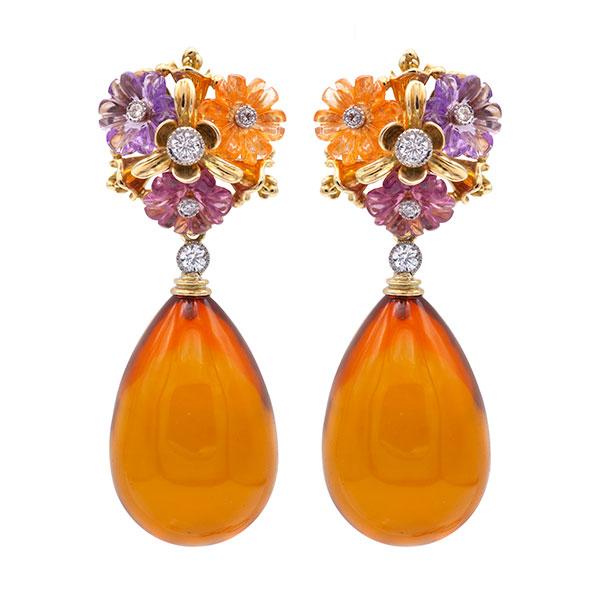 Featherstone amber drop earrings
